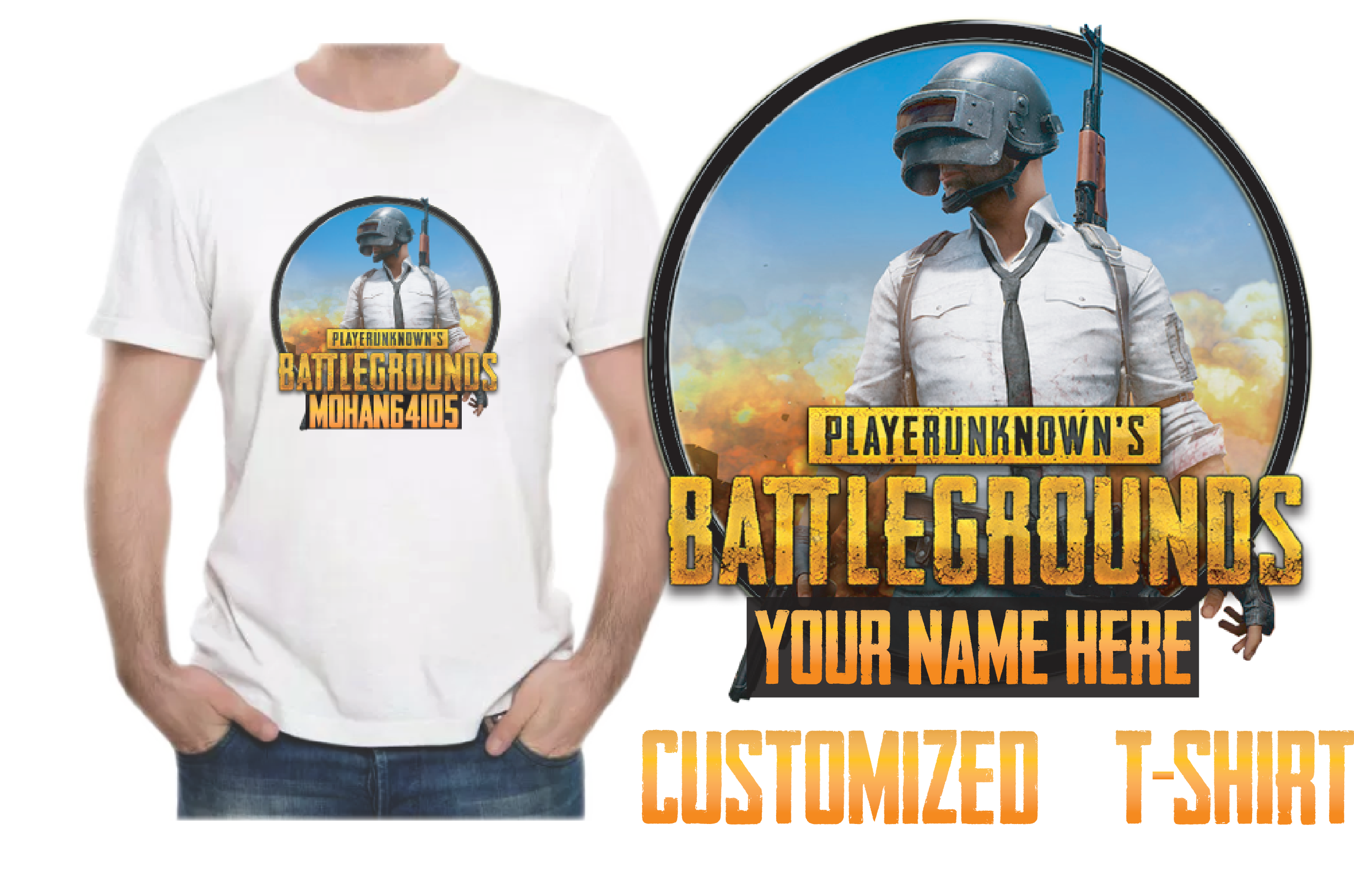 Print your Favorite Game PUBG T-Shirts Rs 200