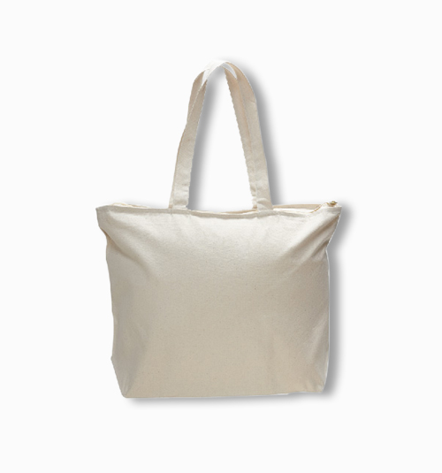 Custom Canvas Big Zipped Tote Bag