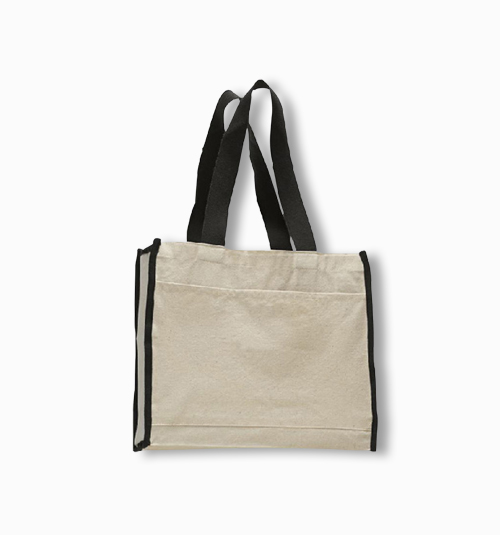 Custom  Gusseted  Tote with Colored Handles