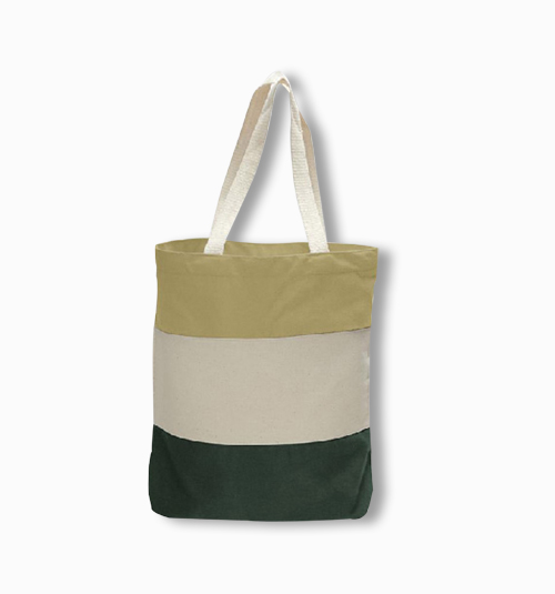 Custom Heavy Duty Canvas Tri-Color Tote Bag