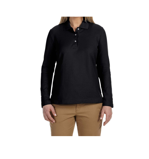 WOMENS COTTON FULL SLEEVE POLO NECK T-SHIRT
