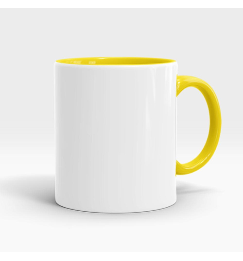 Inner and Handle Coloured Mug-Yellow